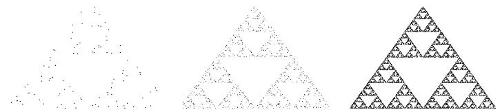 شکل حاصل پس از ۱۰۰ بار یا ۱۰۰۰ بار یا ۱۰۰۰۰۰ بار (چپ به راست)