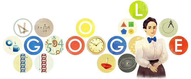 From left to right, you can see topology (the donut and coffee mug), ascending/descending chains, Noetherian rings (represented in the doodle by the Lasker-Noether theorem), time, group theory, conservation of angular momentum, and continuous symmetries–and the list keeps going on and on from there!