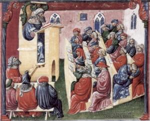 یک کلاس درس در قرن ۱۴